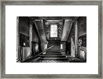 Stairs In Abandoned Castle - Urbex Framed Print by Dirk Ercken