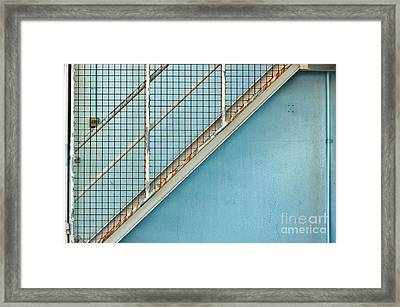 Framed Print featuring the photograph Stairs On Blue Wall by Stephen Mitchell