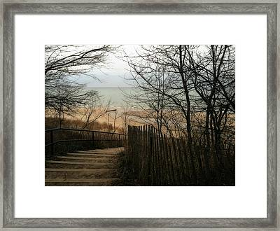 Framed Print featuring the photograph Stairs To The Beach In Winter by Michelle Calkins