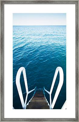 Stairs To The Blue Sea Framed Print by Vadim Goodwill
