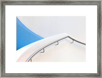 Stairs With Blue Framed Print by Jeroen Van De Wiel