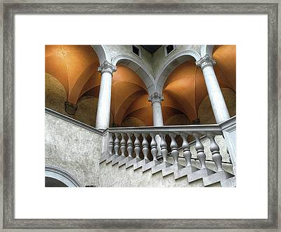 Stairway And Arches, Worcester Art Museum Framed Print