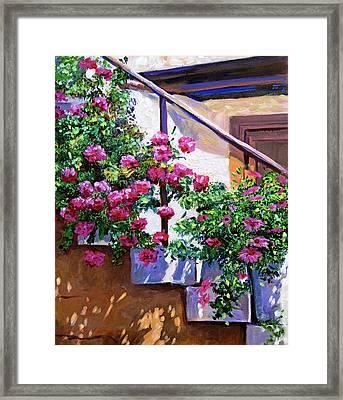 Stairway Floral Plein Air Framed Print by David Lloyd Glover