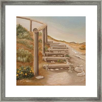 Stairway From The Beach Framed Print by Angeles M Pomata