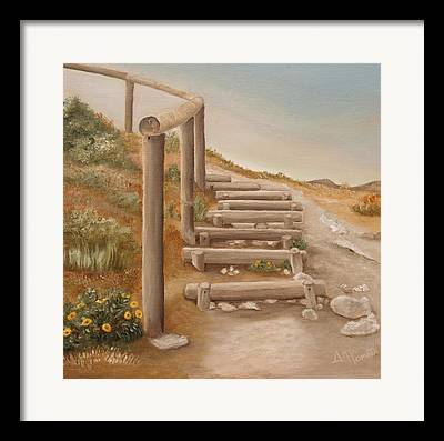 Wooden Stairs Paintings Framed Prints