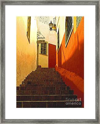 Stairway Guanajuato Framed Print by Mexicolors Art Photography