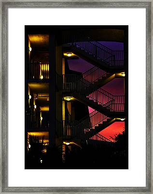 Stairway Silhouette At Sunset Framed Print