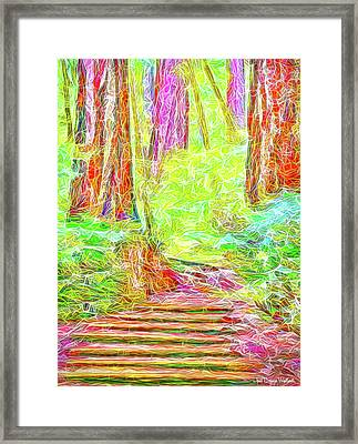 Framed Print featuring the digital art Stairway Through The Redwoods - Tamalpais California by Joel Bruce Wallach