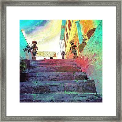 Stairway To Heaven Restaurant Blue City India Rajasthan 1a Framed Print by Sue Jacobi