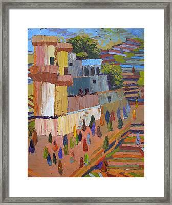 Stairway To Heaven Varanasi Framed Print by Art Nomad Sandra  Hansen