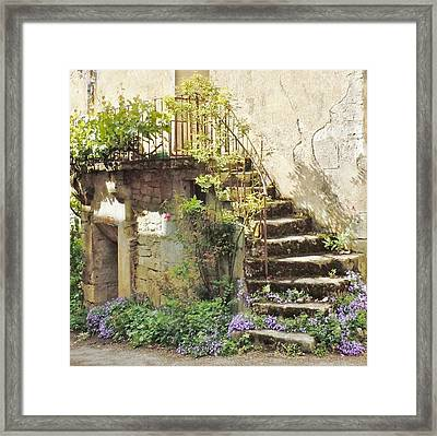 Stairway With Flowers Flavigny France Framed Print