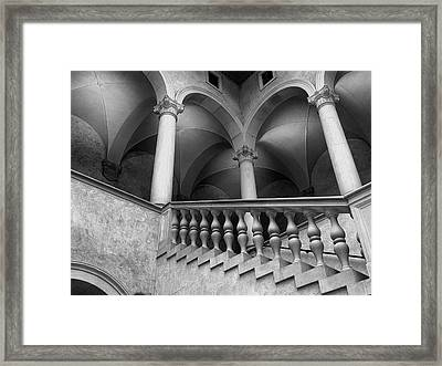 Stairways And Arches, Worcester Art Museum Bw Framed Print