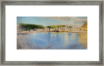 Staithes From The Sea Framed Print by Matthew Phinn
