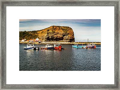 Staithes Harbour At High Tide Framed Print by Keith Sayer