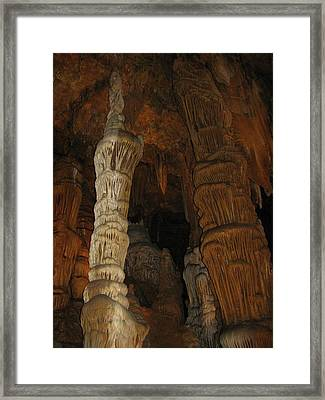 Stalacmites In Luray Caverns Va  Framed Print
