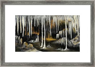 Framed Print featuring the painting Stalactite Cave by Anastasiya Malakhova