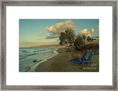 Stalida Beach Lounger  Framed Print by Rob Hawkins
