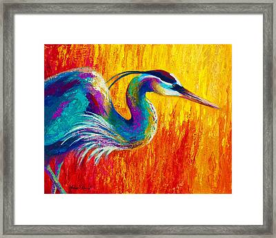 Stalking The Marsh - Great Blue Heron Framed Print