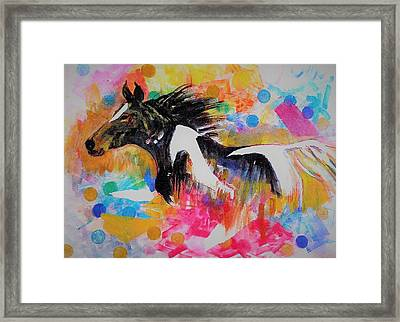 Stallion In Abstract Framed Print