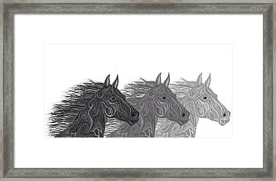 Framed Print featuring the drawing Stallions Shades by Nick Gustafson