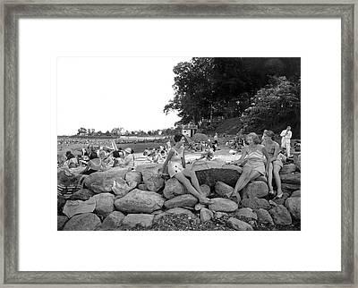 Stamford Shorewood Beach Club Framed Print by Underwood & Underwood