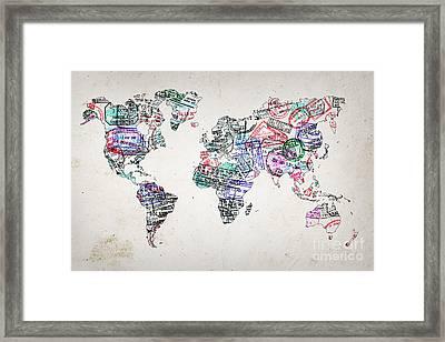 Stamp Art World Map Framed Print