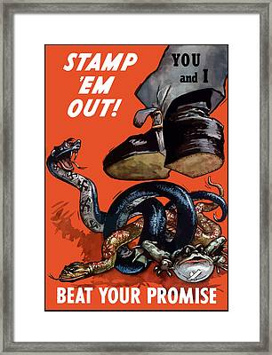 Stamp Em Out - Beat Your Promise Framed Print by War Is Hell Store
