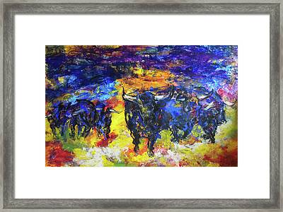 Framed Print featuring the painting Stampede by Koro Arandia
