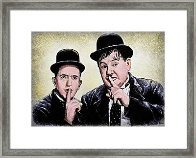 Stan And Ollie Colour Version Framed Print