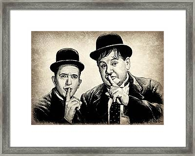 Stan And Ollie Sepia Effect Framed Print
