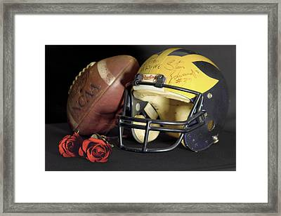 Stan Edwards's Autographed Helmet With Roses Framed Print