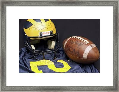 Stan Edwards's Autographed Wolverine Helmet Framed Print