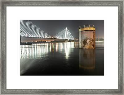 Stan Musial Veterans Memorial Bridge At Night - St. Louis Missouri Framed Print by Gregory Ballos
