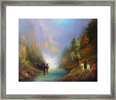 Arwen And Frodo Stand Off At The Ford Framed Print by Joe Gilronan