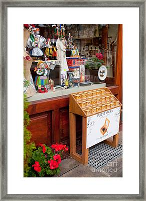 Stand With Little Wooden Music Box Framed Print by Arletta Cwalina