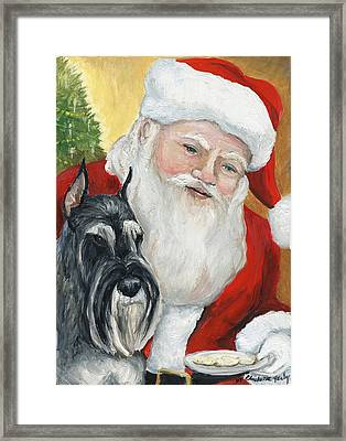 Standard Schnauzer And Santa Framed Print by Charlotte Yealey