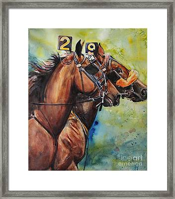 Standardbred Trotter Pacer Painting Framed Print by Maria's Watercolor