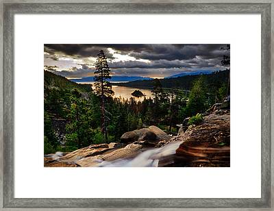 Standing At Eagle Falls Framed Print