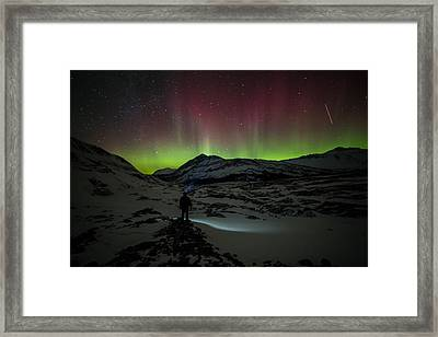 Standing In Awe Of The Auroras Framed Print by Craig Brown