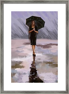 Standing-in-the-rain Framed Print