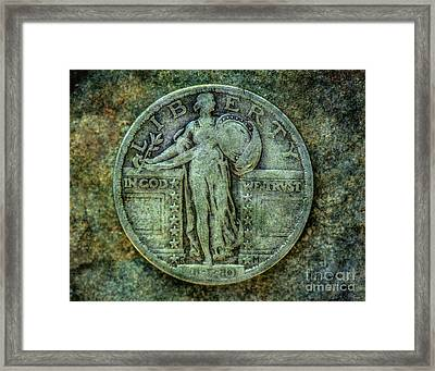 Framed Print featuring the digital art Standing Libery Quarter Obverse by Randy Steele