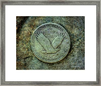Framed Print featuring the digital art Standing Libery Quarter Reverse by Randy Steele