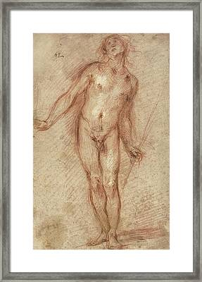 Standing Male Nude Framed Print by Cecco Bravo