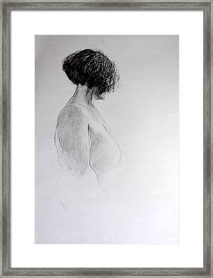 Framed Print featuring the drawing Standing Nude by Harry Robertson