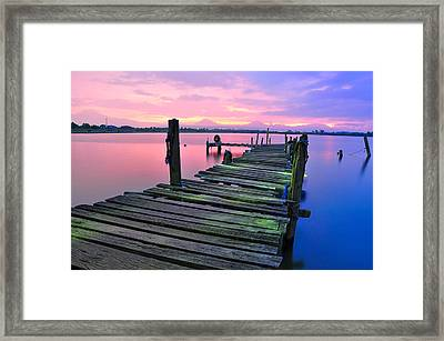 Standing On A Wooden Bridge Framed Print