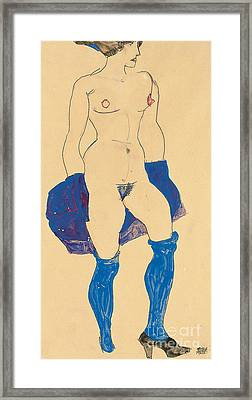 Standing Woman With Shoes And Stockings Framed Print by Egon Schiele