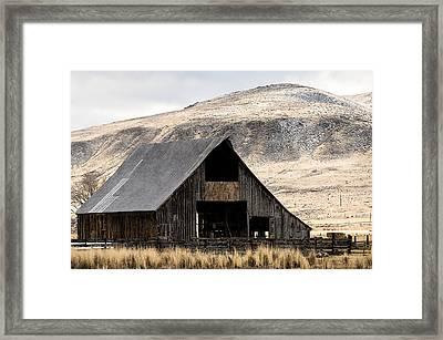 Standish Barn In Winter Framed Print