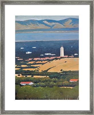 Framed Print featuring the painting Stanford From Hills by Gary Coleman