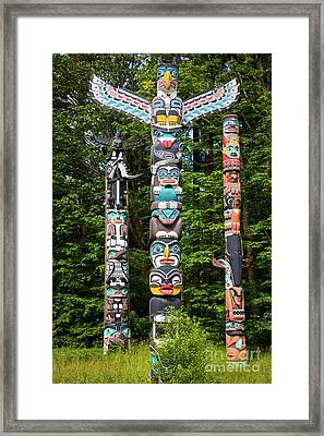 Stanley Park Totems Framed Print by Inge Johnsson