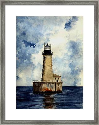 Stannard Rock Lighthouse Framed Print by Michael Vigliotti